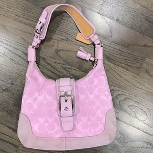 Coach hobo bag- signature pink with suede